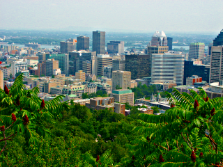 [View from Mont Royal on Montreal after working on the photo with Gimp]