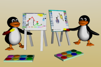 [tux painting]